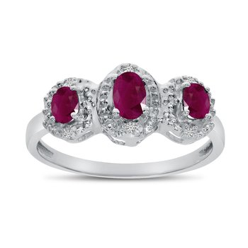14k White Gold Oval Ruby And Diamond Three Stone Ring