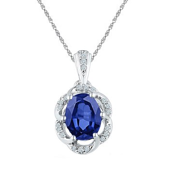 10kt White Gold Womens Oval Lab-Created Blue Sapphire Solitaire Diamond Pendant 1-3/4 Cttw