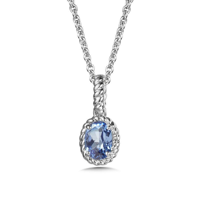 SDC Creations Created Blue Sapphire Pendant in Sterling Silver