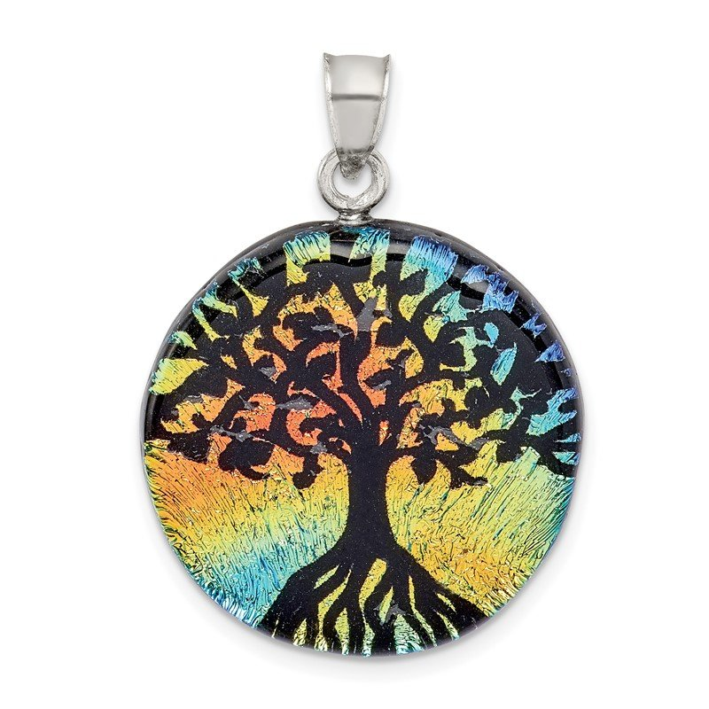 Quality Gold Sterling Silver Iridescent Glass Tree Pendant