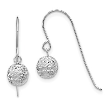 14K White Gold 6mm Diamond Cut Ball Dangle Earrings