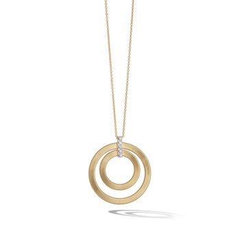 Masai Yellow Gold and Diamond Double Circle Long Necklace