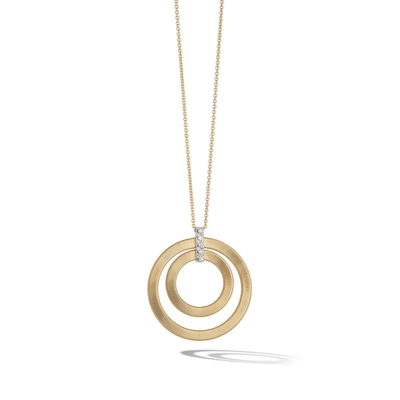 Marco Bicego Masai Yellow Gold and Diamond Double Circle Long Necklace