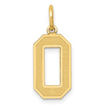 14k Medium Satin Number 0 Charm