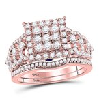 Kingdom Treasures 14kt Rose Gold Womens Round Diamond Vintage-inspired Bridal Wedding Engagement Ring Band Set 1.00 Cttw