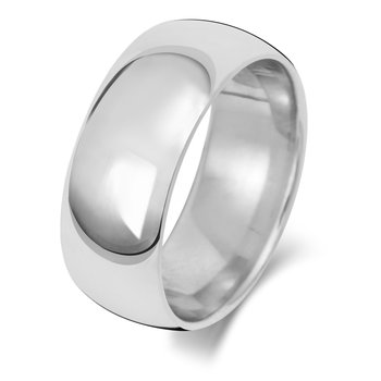 9Ct White Gold 8mm Traditional Court Wedding Ring