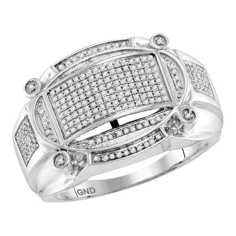 Gold-N-Diamonds 10kt White Gold Mens Round Diamond Oval Rectangle Cluster Ring 1/2 Cttw