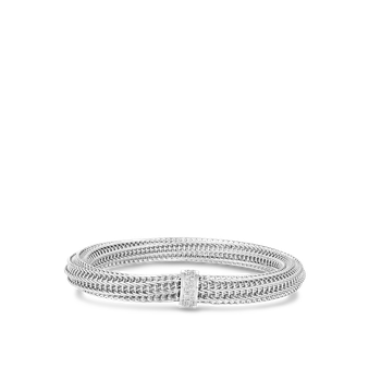 18K GOLD & DIAMOND PRIMAVERA MEDIUM WIDTH TWIST BANGLE