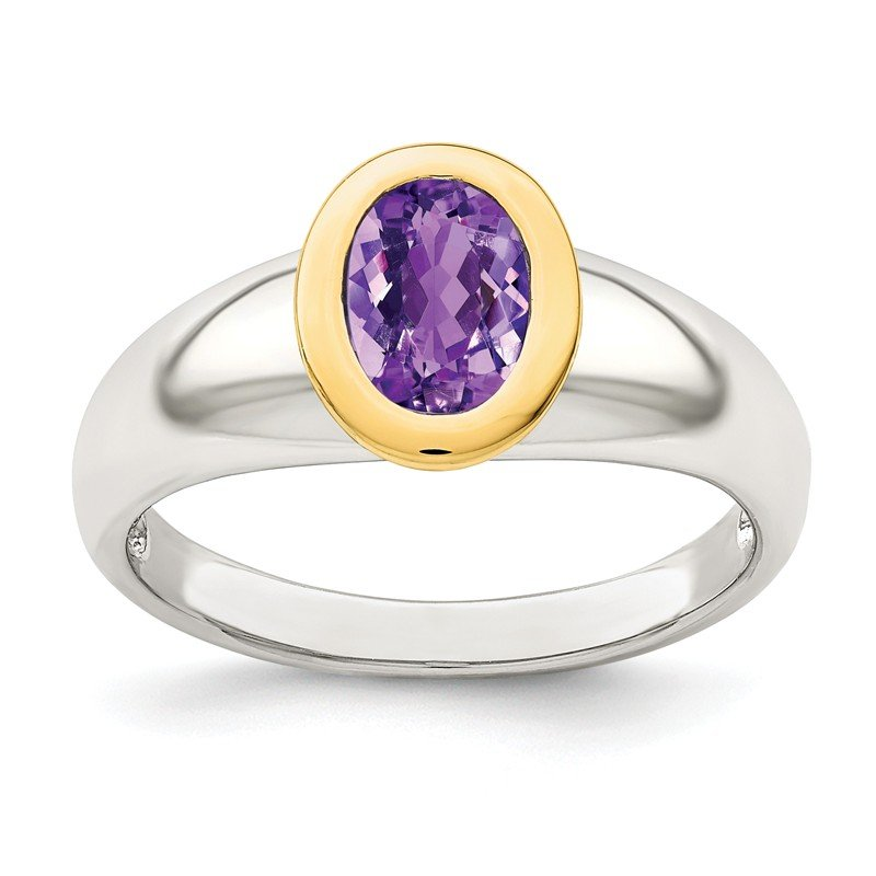 Shey Couture Sterling Silver w/ 14K Accent Amethyst Oval Ring