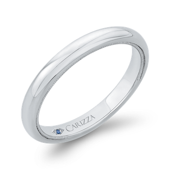 18K White Gold Plain Wedding Band with Milgrain