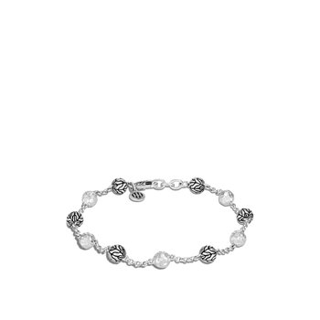 Classic Chain 6MM Hammered Bead Bracelet in Silver