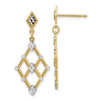 14k Yellow Gold White Rhodium Diamond-cut Marquise Post Dangle Earrings