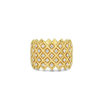 18Kt Gold 5 Row Diamond Band