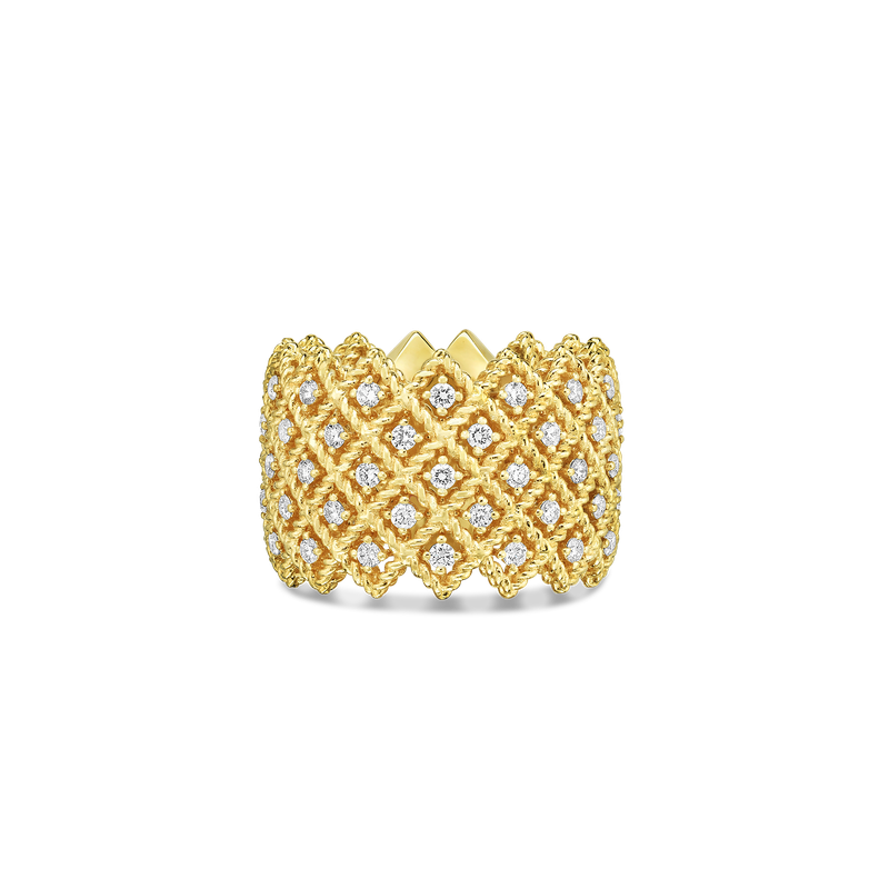 Roberto Coin 18Kt Gold 5 Row Diamond Band