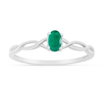 10k White Gold Oval Emerald Ring