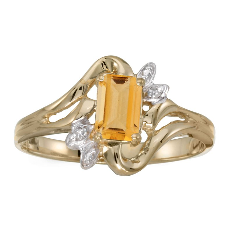 Color Merchants 10k Yellow Gold Emerald-cut Citrine And Diamond Ring