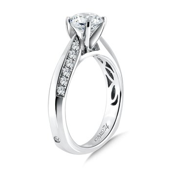 Diamond Engagement Ring With Prong and Channel Set Side Stones and Pinched 14K White Gold with Platinum Head (1ct. tw.)