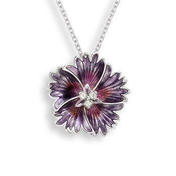 Purple Sweetness Flower Necklace.Sterling Silver-White Sapphire