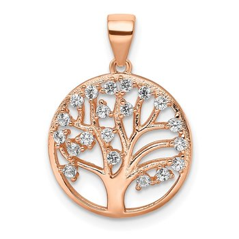 Sterling Silver Rose-tone Created White Sapphire Tree of Life Pendant