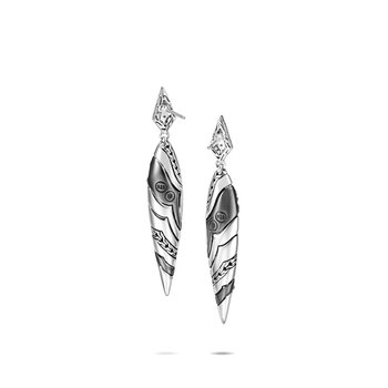 Lahar Marquise Drop Earring in Silver with Diamonds