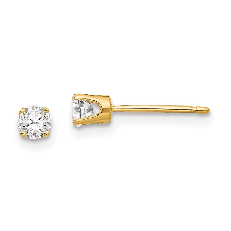 Quality Gold 14k 3.25mm Cubic Zirconia stud earring