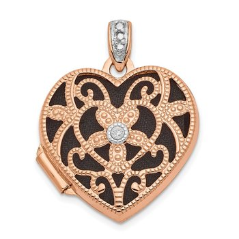 14k Rose Gold 18mm w/Diamond Vintage Heart Locket