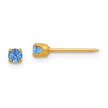 Inverness 24k Plated September Blue Crystal Birthstone Earrings