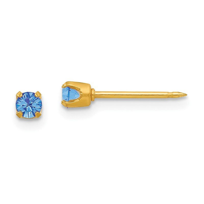 Quality Gold Inverness 24k Plated September Blue Crystal Birthstone Earrings