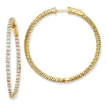 Sterling Silver Gold-plated 100 Stone CZ In and Out Hoop Earrings