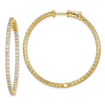 Sterling Silver Gold-tone 100 Stone CZ In and Out Hoop Earrings