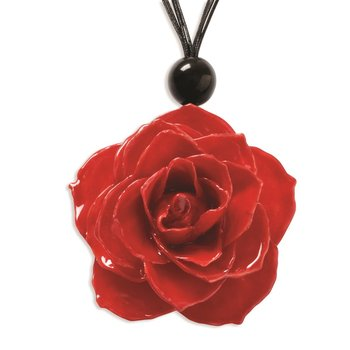 Lacquer Dipped Large Red Rose 18 inch Black Cotton Cord Necklace