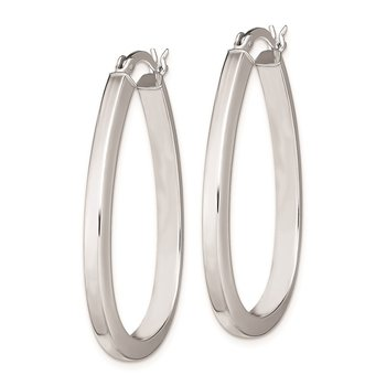 Sterling Silver Rhodium Plated Oval Hoop Earrings