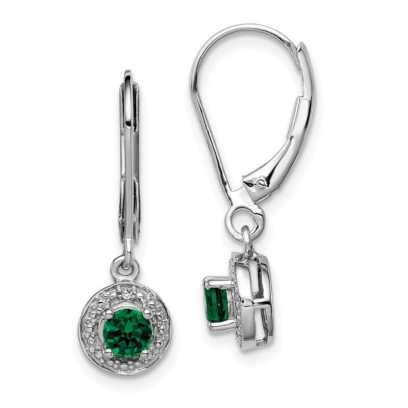 Quality Gold Sterling Silver Rhodium-plated Diam. & Created Emerald Earrings