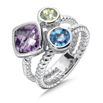 Amethyst , Peridot, & Blue Topaz Ring in Sterling Silver