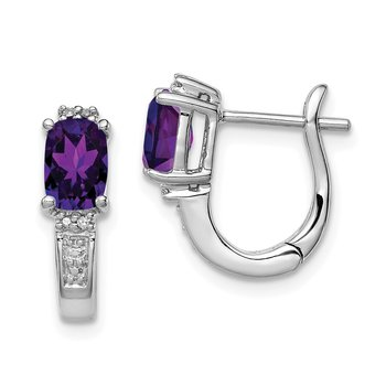 Sterling Silver Rhodium Plated Dia. Amethyst Hinged Hoop Earrings