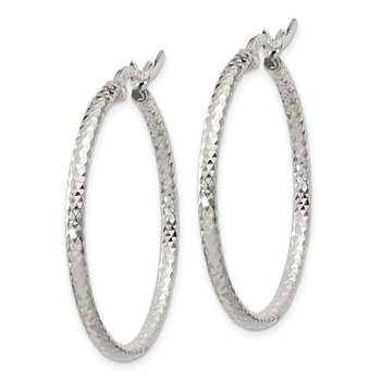 Sterling Silver Polished Diamond-cut 2mm Round Hoop Earrings