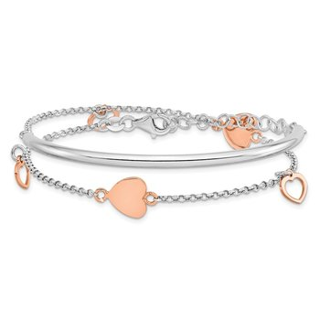 Leslie's Sterling Silver Rose Gold-plated Hearts w/2in ext. Wrap Bracelet