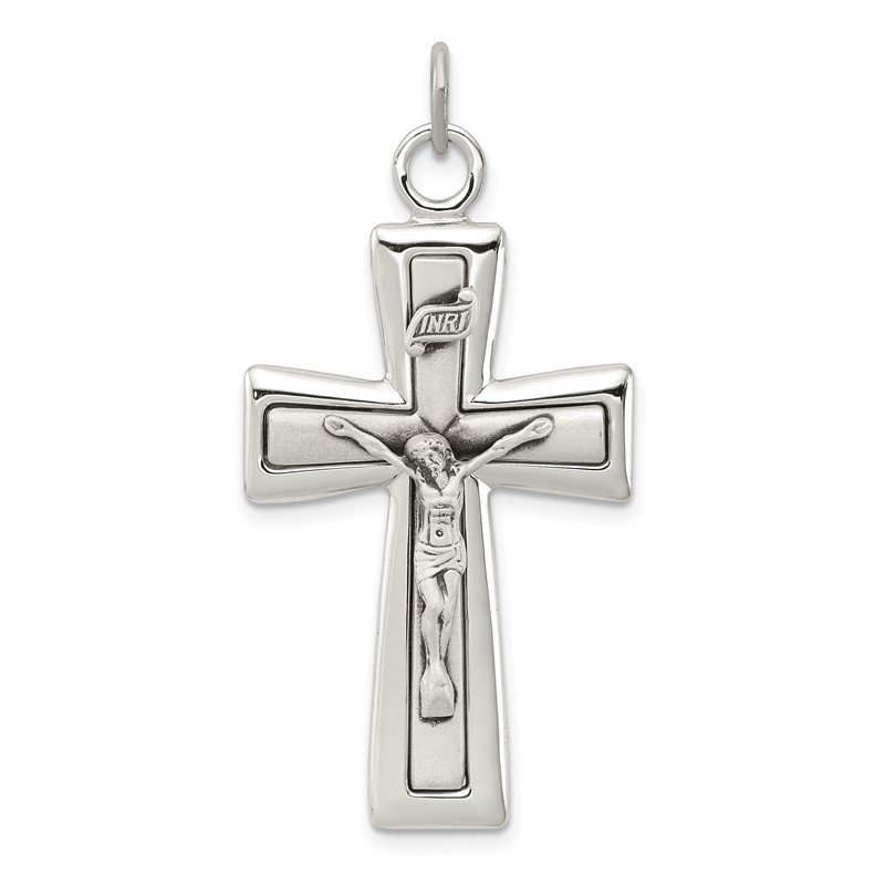 Quality Gold Sterling Silver INRI Crucifix Pendant