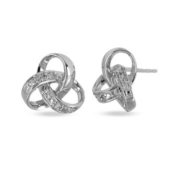 10K WG Diamond Love Knot Stud Earring