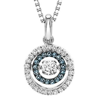 14K Blue & White Rhythm Of Love Pendant 3/8 ctw