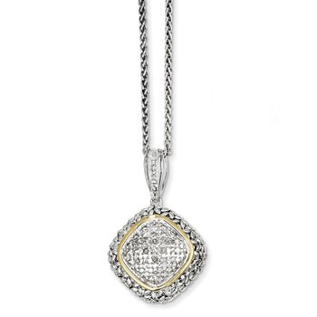 SS w/14k True Two-tone 1/10ct. Diamond 18in Necklace
