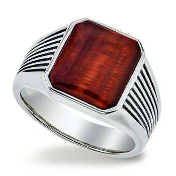 Men's Red Tiger Eye and Silver Ring