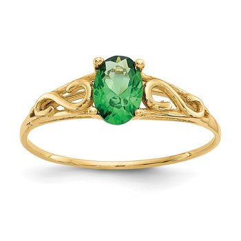 14k Madi K Synthetic Emerald Ring