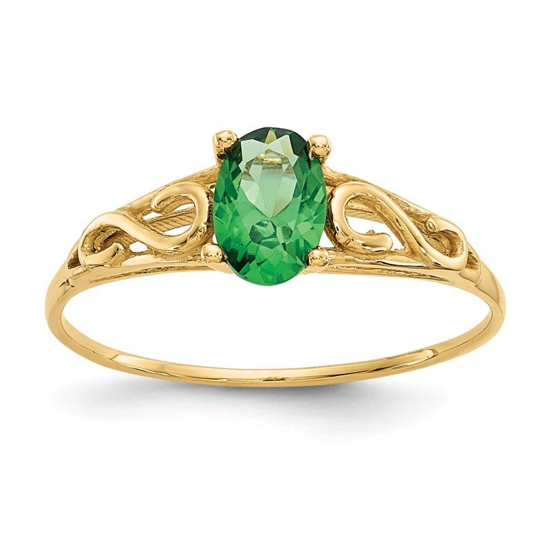 Quality Gold 14k Madi K Synthetic Emerald Ring