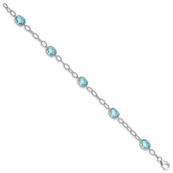 Sterling Silver Rhodium-plated Aqua Blue CZ Textured Link Bracelet