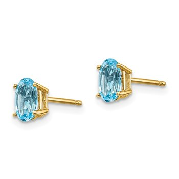 14k 6x4 Oval December/Blue Topaz Post Earrings