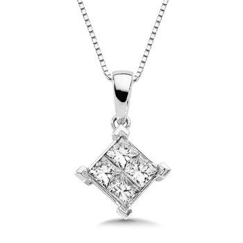 Invisible set Princess cut Diamond Pendant in 14k White Gold (1/2 ct. tw.)
