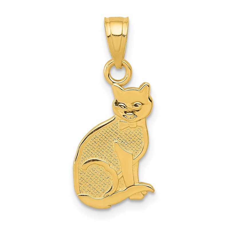 Quality Gold 14k I HEART MY CAT on Reverse Cat Pendant