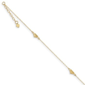 14k Polished Diamond-cut Triple Puffed Hearts 9in Plus 1in. Ext. Anklet