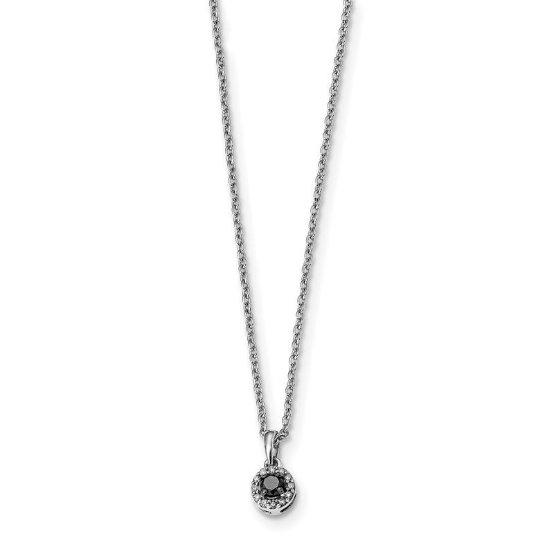 Quality Gold Sterling Silver Rhod Plated Black and White Diamond Circle Pendant Necklace